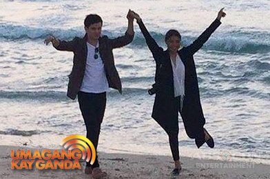 JaDine couple, magka-holding hands sa beach