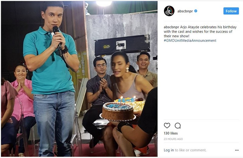LOOK: Arjo Atayde celebrates birthday with the cast of his newest teleserye