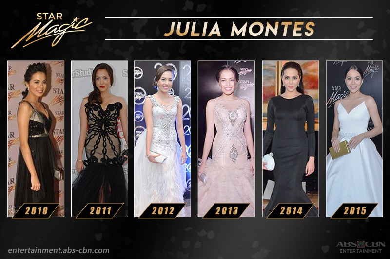 Julia Montes' Star Magic Ball Looks Through The Years