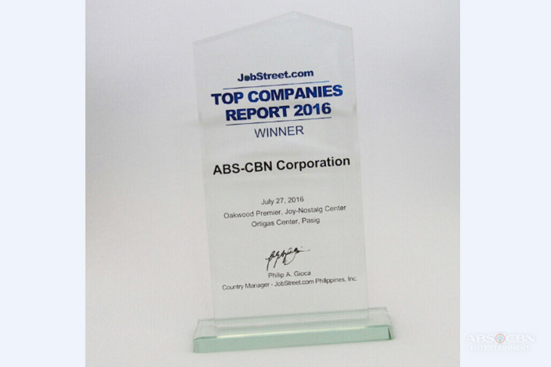 ABS CBN emerges as the only media and entertainment company in JobStreet s Top Companies for 2016 1