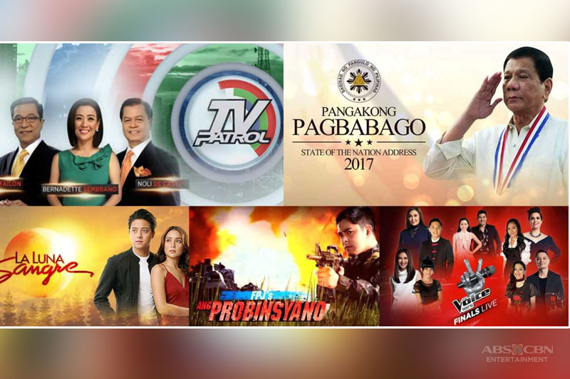 ABS CBN leads National TV Ratings with SONA live coverage and relevant news in July 1