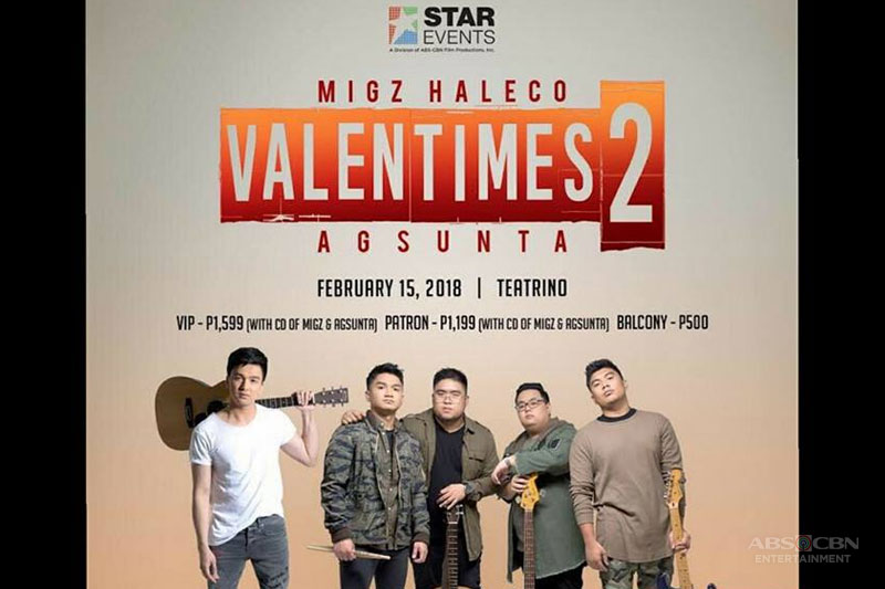 Agsunta and Migz Haleco to hold Valentimes 2 concert 1