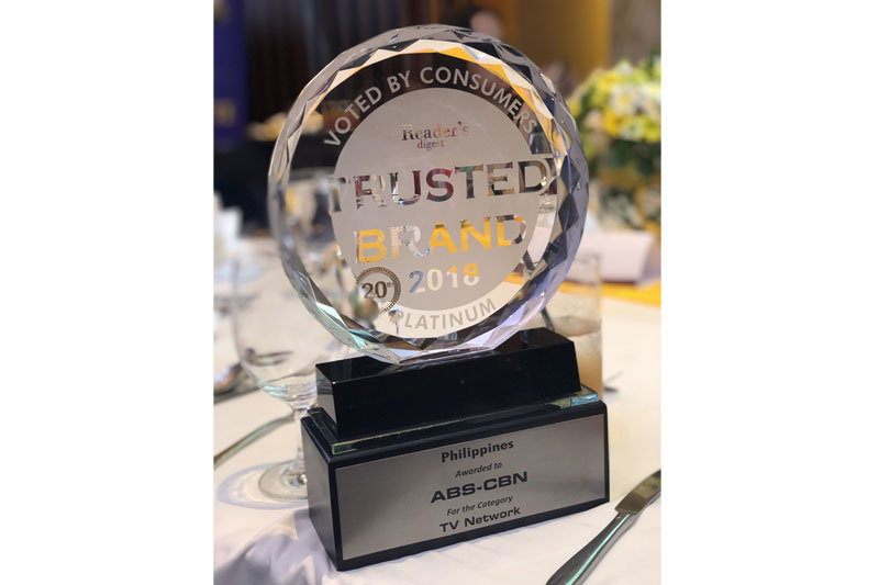 ABS CBN wins Platinum Award at the Reader s Digest Trusted Brands Awards for third straight year 2