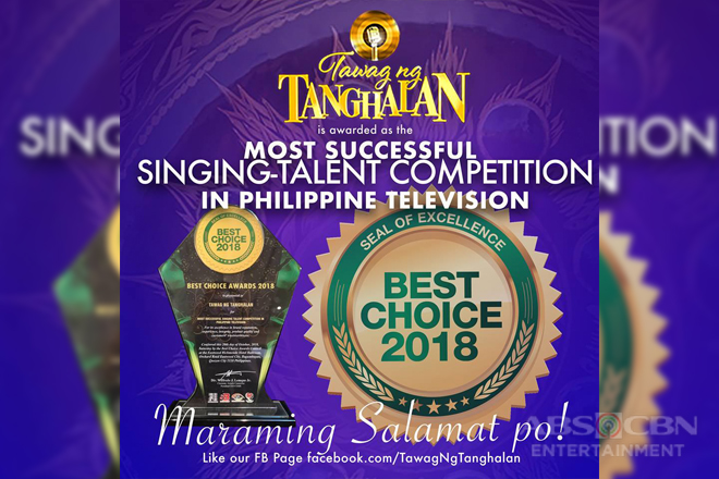 """Tawag Ng Tanghalan"" named most successful singing-talent competition in PH TV by Best Choice Awards"