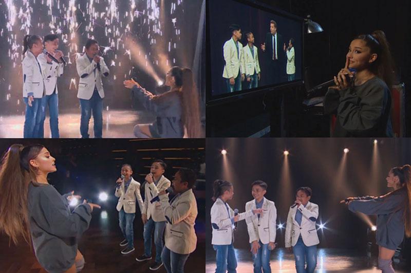 TNT Boys sinropresa at nakipag duet kay Ariana Grande sa show ni James Corden 1