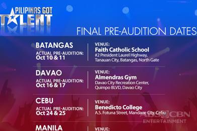 Pilipinas Got Talent Audition Schedule