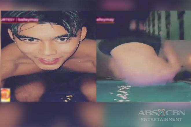 Bailey May, nag-backflip sa pool