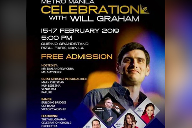 Will Graham, maghahatid ng good news sa Quirino Grandstand sa Feb. 15-17