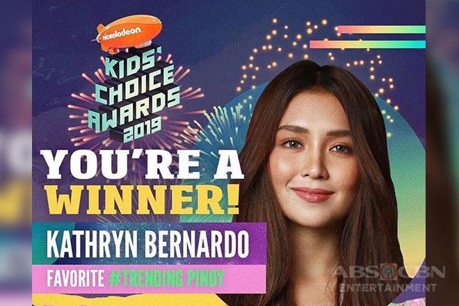 Kathryn Bernardo, itinanghal na favorite trending pinoy artist ng Nickelodeon's Kids Choice Awards